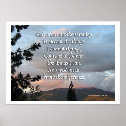 Serenity Prayer Sunset Poster