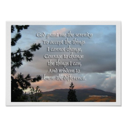 Serenity Prayer Sunset Poster