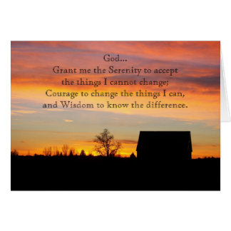 Serenity Prayer Sunset Silhouette Photo Card