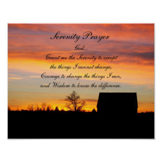 Serenity Prayer Sunset Silhouette Poster