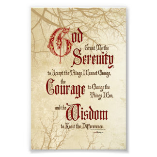 Serenity Prayer: Tree Limbs, Strength/Recovery Photo Print