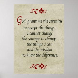 Serenity Prayer Vintage Style Poster