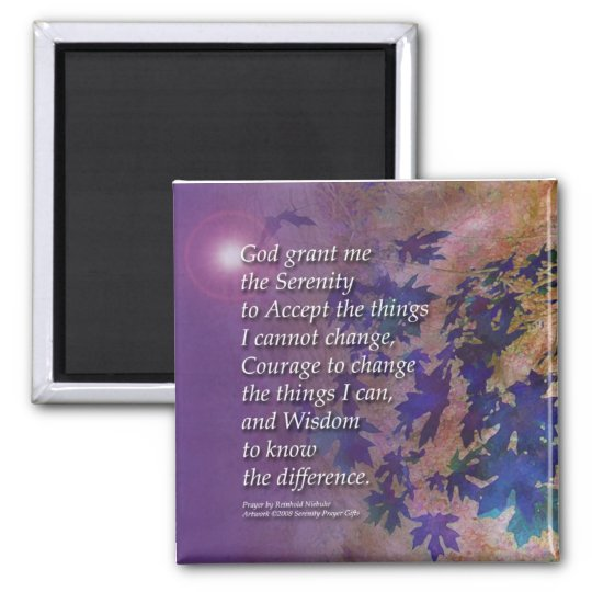 Serenity Prayer Violet Leaves Magnet