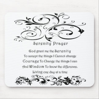 Serenity Prayer White Mouse Mat
