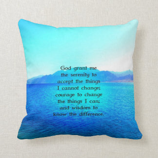 Serenity Prayer With Blue Ocean and Amazing Sky Cushion
