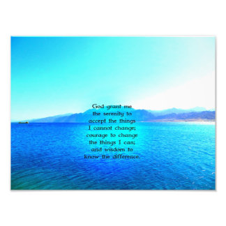 Serenity Prayer With Blue Ocean and Amazing Sky Photo Print