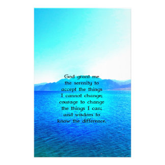 Serenity Prayer With Blue Ocean and Amazing Sky Personalized Stationery