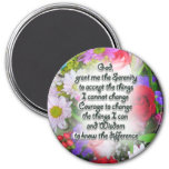 Serenity Prayer with Flowers 7.5 Cm Round Magnet