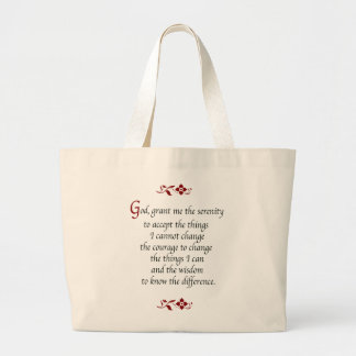 Serenity Prayer-with red flowers Jumbo Tote Bag
