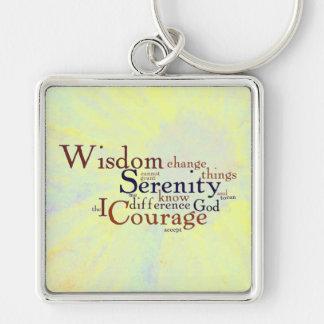 Serenity Prayer Wordle on abstract Key Ring