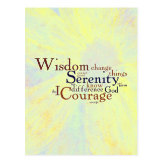 Serenity Prayer Wordle on abstract Postcard
