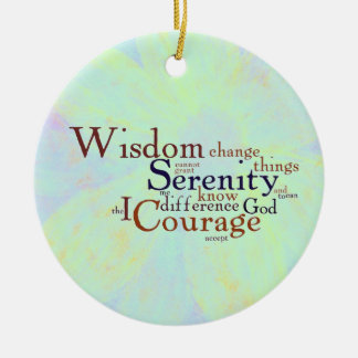 Serenity Prayer Wordle on abstract Round Ceramic Decoration