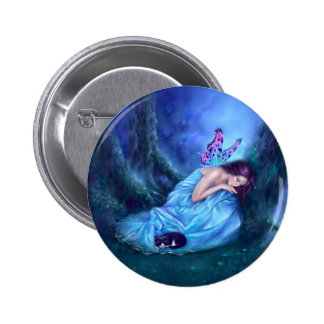 Serenity Sleeping Fairy & Kitten Button Badge