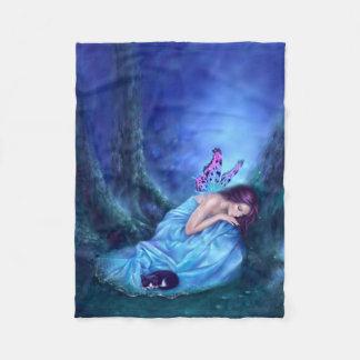 Serenity Sleeping Fairy & Kitten Fleece Blanket