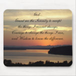 Serentity Prayer Seascape Sunset Photo Mouse Pad