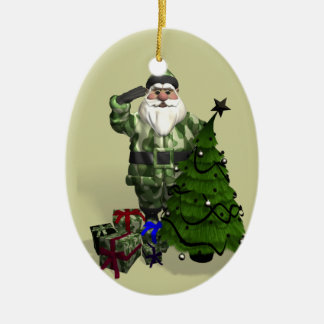 Sergeant Santa Claus Ceramic Oval Decoration