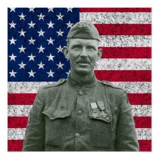 Sergeant York and The American Flag Print