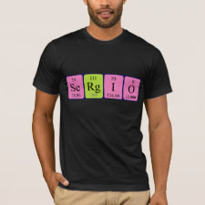 Shirt featuring the name Sergio spelled out in symbols of the chemical elements