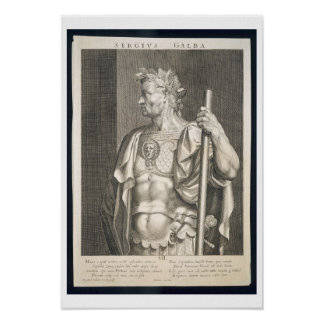 Sergius Galba Emperor of Rome 68 AD engraved by Ae Poster