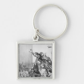 Series 'Les Divorceuses' Silver-Colored Square Key Ring