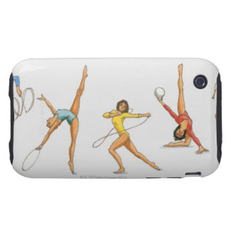 Series of illustrations showing rhythmic iPhone 3 tough cases