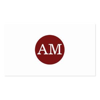 Serif Type Monogram Crimson Red Circle Pack Of Standard Business Cards
