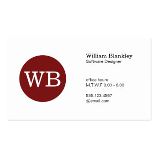 Serif Type Monogram Crimson Red Circle Pack Of Standard Business Cards