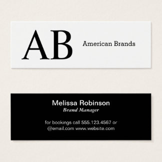 Serif Type Monogram Mini Business Card