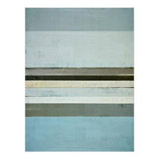 'Serious' Blue and Grey Abstract Art Poster Print