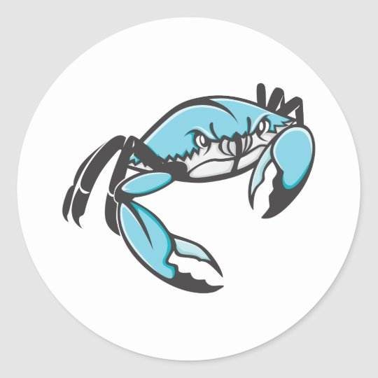 Serious Blue Crab in Black and White Classic Round Sticker