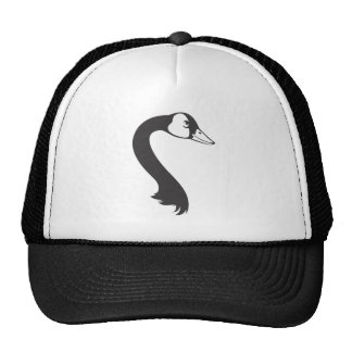 Serious Canada Goose Bird in Black and White Mesh Hats