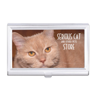 Serious Cat and other pets customizable Business Card Holder
