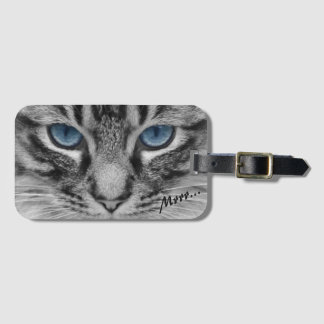 Serious Cat with Blue Eys Customizable Bag Tag