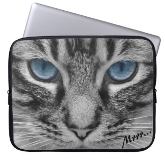 Serious Cat with Blue Eys Customizable Laptop Computer Sleeve