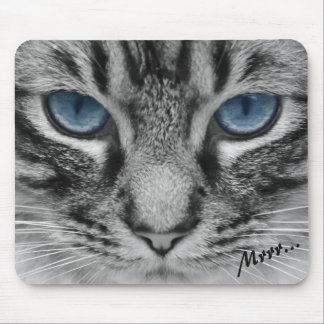 Serious Cat with Blue Eys Mouse Pad