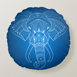 Serious Elephant Two Blue edition Round Cushion