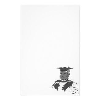 Serious Graduating Man Stationery Design