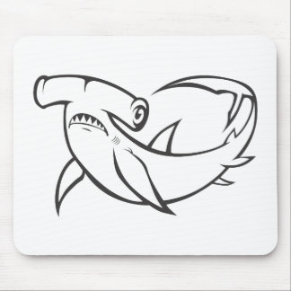 Serious Hammerhead Shark in Black and White Mouse Pads
