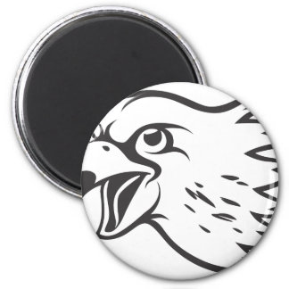 Serious Peregrine Falcon Bird in Black 6 Cm Round Magnet