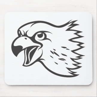 Serious Peregrine Falcon Bird in Black Mousepad