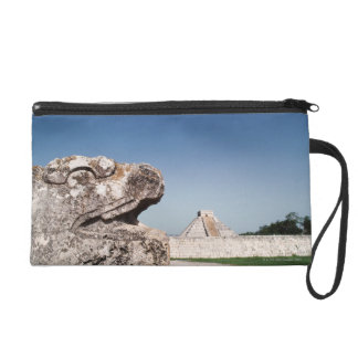 Serpent statue by pyramid in Mexico Wristlet