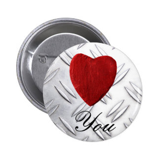 Serrated sheet background Love you 6 Cm Round Badge