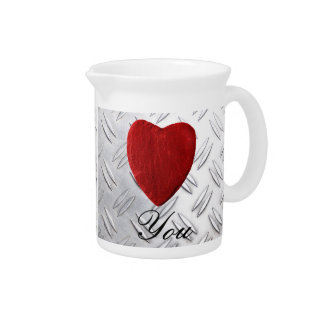 Serrated sheet background Love you Beverage Pitcher