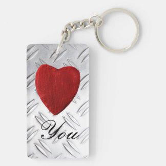 Serrated sheet background Love you Key Ring