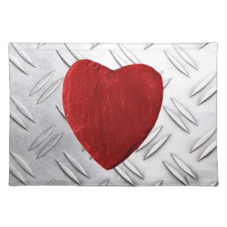 Serrated sheet background with heart placemats