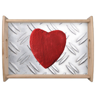 Serrated sheet background with heart serving tray