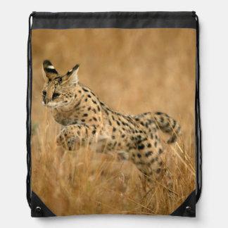 Serval (Leptailurus Serval) Jumping Drawstring Bag