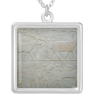 Servants driving an oryx and an antelope silver plated necklace