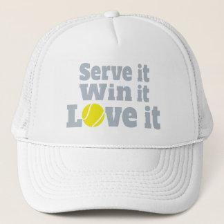 Serve it, win it, love it tennis ball graphic hat