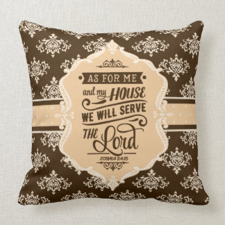 Serve the Lord Monogram Pillow - Beige & Brown